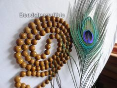Light Camel Agate Necklace Agate Beads 8mm 108 Round Beads Rosary Necklace Japa Mala, $19.95