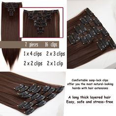 S noilite Synthetic Clip in Hair Extension Long Straight 22 145g 16 Clips False Hairpieces. Click visit to buy #SyntheticExtensions
