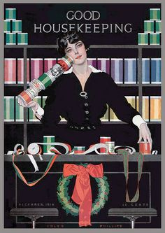 Good Housekeeping magazine Dec 1916 cover by Coles Phillips.
