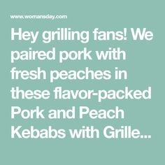We paired pork with fresh peaches in these flavor-packed Pork and Peach Kebabs with Grilled Green Beans Recipe. Pork Roulade, Grilled Green Beans, High Sugar, Peach Jam, Green Bean Recipes, Kebabs, Just Cooking, Pork Loin, Rice Vinegar