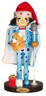 Kurt Adler 11″ Wooden Elvis in Blue Jumpsuit Nutcracker