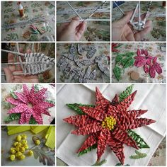 DIY Woven Paper Poinsettia the Christmas Star