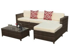Outdoor Patio Furniture set, PE Wicker Rattan Sectional Furniture Set with Cream White Seat and Back Cushions, Steel Frame, Red Throw Pillows,Gray For Sale Pool Patio Furniture, Sectional Patio Furniture, Patio Furniture Covers, Modern Outdoor Furniture, Furniture Layout, Vintage Furniture, Wicker Sofa, Rattan, Outdoor Rocking Chairs
