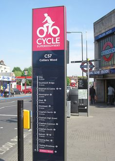Way-finding sign used in London for their Cycle Superhighway system. Something like this would be great for Sydney.
