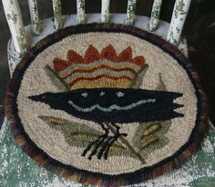Merveilleux EARLY HOOKED CHAIR PAD | Rug Hooking: Chair Pads | Pinterest | Chair Pads,  Primitive Hooked Rugs And Locker Hooking