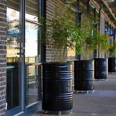 Industrial Planters, made out of Oilbarrels. Terrace Garden, Garden Planters, Outside Living, Outdoor Living, Dream Garden, Home And Garden, Oil Barrel, Barrel Furniture, Office Interior Design
