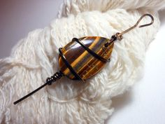 Tiger Eye Shawl Pin Wire Wrapped Natural by SeattleSkyDyeworks