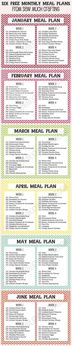 Six FREE Monthly Meal Plan Printables