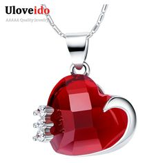 Find More Pendant Necklaces Information about Heart Necklace for Women Red Necklaces & Pendants Bezhuteriya Silver Plated Jewelry Love Wedding Accessories Uloveido N1140,High Quality necklace display,China necklace skull Suppliers, Cheap necklace star from Uloveido Official Store on Aliexpress.com