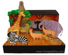 African Savanna Habitat Diorama craft, links to printables of animals and stands