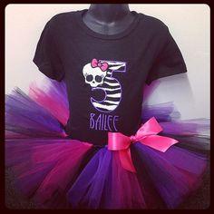 Personalized Monster High Birthday Tutu Set-  HP & Purple