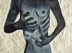 Painting looking at eating disorder ( anorexia, bulimia) using ink, acrylic and newsprint.