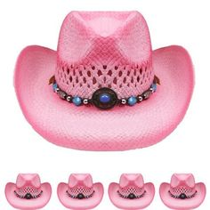 COWBOY KIDS HAT Paper Straw SMALL WESTERN RODEO Cowboy Cowgirl Pink HIGH  QUALITY  d2817a213712