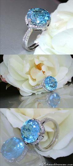 Cute Blue Topaz Diamond Ring | Feiner Blautopas Ring mit Brillanten | 10,34 ct. WG14K - Visit: schmucktraeume.com - Like: https://www.facebook.com/pages/Noble-Juwelen/150871984924926