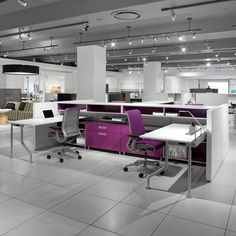 Steelcase: C Scape. Collaborative free standing desking system. Open floor plan.