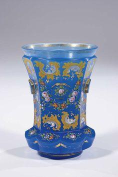 253: Becher Bohemia Glass Beaker Alabaster Vintage Old : Lot 253