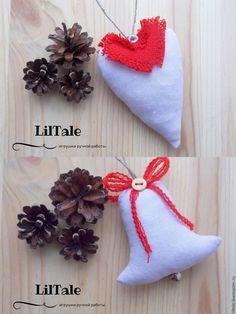 Купить Текстильные елочные игрушки с красным декором - елочные игрушки, елочные украшения, декор для интерьера
