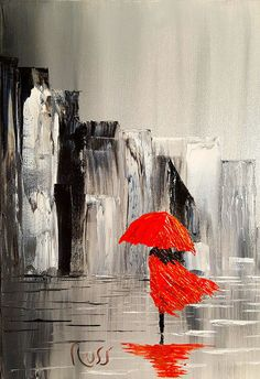 Lady In Red Dress And A Red Umbrella Walking Alone Through A Storm Art Print by Russell Collins. All prints are professionally printed, packaged, and shipped within 3 - 4 business days. Choose from multiple sizes and hundreds of frame and mat options. Umbrella Painting, Dress Painting, Rain Painting, Umbrella Art, Cool Paintings, Modern Art Paintings, Painting Inspiration, Lady In Red, Abstract Art