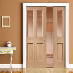 Double Pocket Malton Oak Door - No Raised Mould with Bevelled Clear Safe Glass - Prefinished. Interior Design Projects, Pocket Doors, Glass Pocket Doors, Solid Oak Doors, Oak Panels, Safe Glass, Oak Doors, Oak Front Door, Living Room Tv