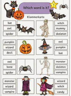 Halloween - Klammerkarte, tolle Ideen für Halloween, viele Übungsmöglichkeiten
