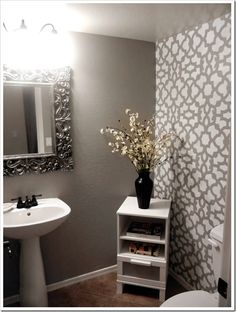 maybe I should just stencil 1 wall in the powder room- love how this turned out!