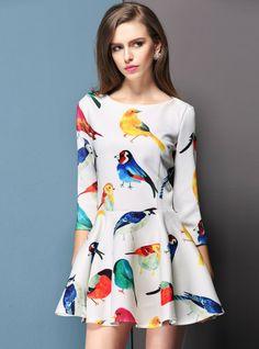 Vestido print pajaros