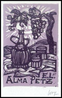 Wolf Remo X3 Exlibris Bookplate Grapes Trauben Wine Wein Alma Petz s91   Antyki i Sztuka, Antyki i sztuka, inne kraje, Pozostałe   eBay!