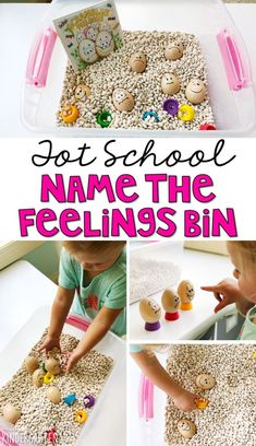 We LOVE this name the feelings sensory bin. Work on fine motor skills and identifying feelings. Great for an all about me theme in tot school, preschool, or even kindergarten! Feelings Preschool, Preschool Themes, Preschool Lessons, Preschool Learning, Preschool Printables, Preschool Family Theme, Preschool Social Skills, Preschool Quotes, Preschool Classroom