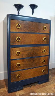 SOLD  Blue Art Deco Waterfall 5 Drawer Dresser by RhinoRestoration