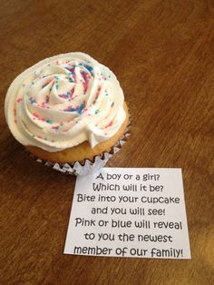 Baby Gender reveal cupcake... Filled with pink or blue lady lock cream!!!