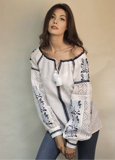 White women's embroidery with blue roses and lace Embroidered Clothes, Embroidered Blouse, Folk Fashion, Womens Fashion, Ukrainian Dress, Short Frocks, Pakistani Fashion Casual, Organza, Traditional Fashion