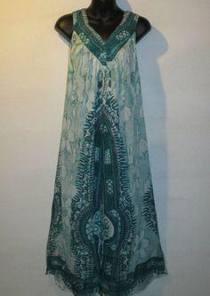 Dress Fits L 1X 2X Plus Sundress Green Floral Dashiki V Neck Smock Style NWT 924 #Shoreline #Sundress #Casual