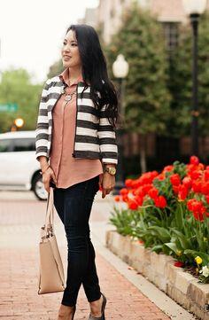 cute & little blog   loft boxy striped jacket, pink shirt, rag bone skinny jeans, chloe + isabel statement necklace   spring outfit