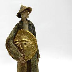 The Sun/Ceramic Sculpture/ Unique Ceramic Figurine by arekszwed on Etsy