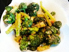 Fried then Baked Shiracha Brocoli.