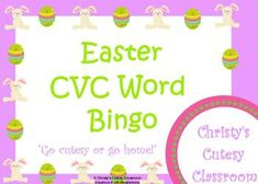 This collection contains a class set of 25 CVC word bingo cards featuring cute Easter graphics.  You print the number you need.Christy's Cutesy Classroom