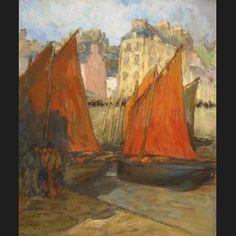 """Georges Gobo """" Bâteaux et marins sur le port de Douarnenez """""""