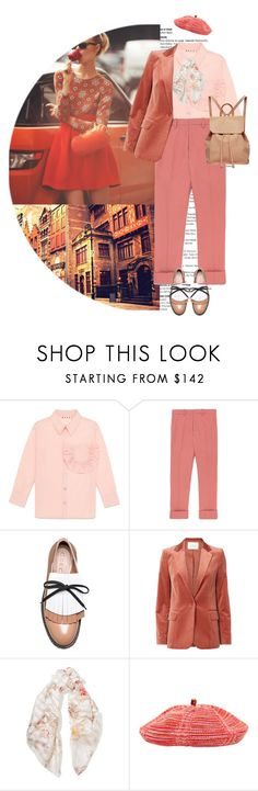 """Peach Candy Apples"" by terrelynthomas ❤ liked on Polyvore featuring Marni, Frame, Fendi, Missoni, Urban Originals, colorfulfall and blazertrouserlook"