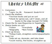 The Book Fairy-Goddess: Volunteers in the Library. Love idea of job list on back of lanyard and idea to post students' pic in area they shelve.