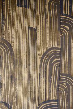 KELLY WEARSTLER | CRESCENT WALLPAPER. In Ebony/Gold Drop Cap, Kelly Wearstler, Signature Design, Animal Print Rug, Manhattan, Fabric Design, Dining Room, Rooms, Wallpaper