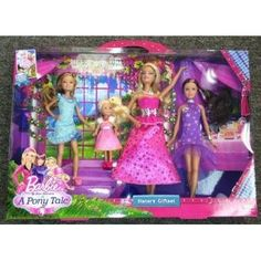 """BARBIE Sisters Gala Gown Gift Set. In the new story, """"Barbie & Her Sisters in a Pony Tale,"""" Barbie and her sisters head to the horse academy, where they attend a festive gala dressed in their prettiest ball gowns. Barbie and Her Sisters in a Pony Tale Gala Gown Giftset  Price : $41.36 #barbie #christmas #pony http://www.thinkfasttoys.com/Barbie-Sisters-Pony-Tale-Giftset/dp/B00BQYFM8Y"""