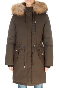 'Rena' Army Green Parka With Natural Fur Collar - Jessimara Down Puffer Coat, Down Coat, Green Parka, Black Down, Fur Collars, Fur Trim, Army Green, Canada Goose Jackets, Winter Jackets