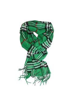 """Green Plaid Pashmina Scarf. Wear as a scarf or wrap. Pashmina is 30"""" Wide and 74"""" Long. Pashmina has 3"""" tassels on both ends and is composed of pashmina. Comes with FREE 18K GOLD OVERLAY Signature Lariat Necklace Plaid Pashmina Scarf by 6th Borough Boutique. Accessories - Scarves & Wraps New Jersey"""