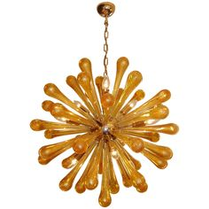 Murano Brass and Amber Glass Sputnik Chandelier - Chandeliers and Pendants - Lighting - inventory Chandelier For Sale, Vintage Chandelier, Chandelier Pendant Lights, Vintage Lamps, Modern Chandelier, Vintage Lighting, Chandeliers, Diy Light Fixtures, Contemporary Lamps