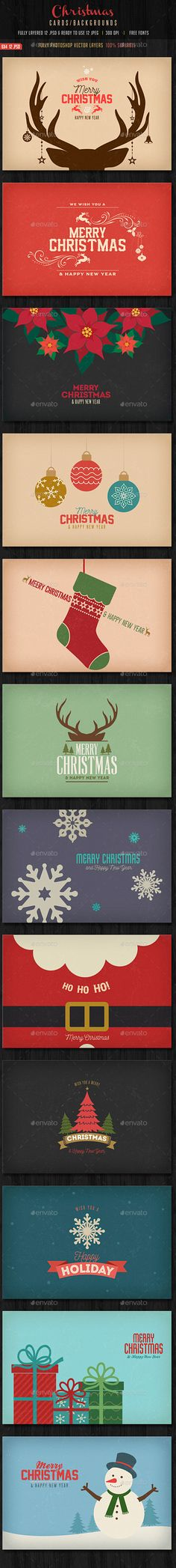 Vintage Christmas Backgrounds / Cards — Photoshop PSD #Vintage Christmas Card #Christmas poster • Available here → https://graphicriver.net/item/vintage-christmas-backgrounds-cards/13759674?ref=pxcr
