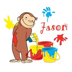 Personalized Custom NAME T-shirt Curious George                                                                                                                                                                                 Más