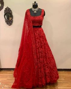 """VIVAH ETHNIC STUDIO on Instagram: """"Beautiful lehenga. For more details or you can also request us for customise options please mail us at vivahethnicstudio@gmail.com or…"""" Lehenga Choli, Lehenga Indien, Lehnga Dress, Red Lehenga, Bridal Lehenga, Saree, Indian Gowns Dresses, Indian Fashion Dresses, Indian Designer Outfits"""