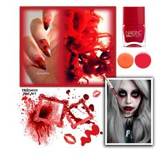 """Scarry RED Nails"" by anduu19 on Polyvore featuring beauty, Deborah Lippmann, Nails Inc., OPI and Prada"