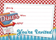 retro and vintage Archives - Printable Party Kits 1950s Theme Party, 50s Theme Parties, Diner Party, Retro Party, Fifties Party, Free Printable Invitations, Party Printables, Party Invitations, Grease Party