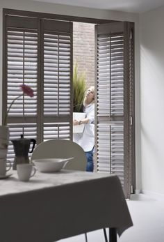 Kitchen with shutters, blinds, folds and swings Indoor Shutters, Interior Window Shutters, Cedar Shutters, Repurposed Shutters, Blinds And Curtains Living Room, House Blinds, Vertical Blinds Cover, Wooden Window Blinds, Store Venitien